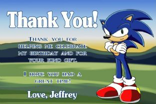 Personalised Sonic the Hedgehog Thank You Cards